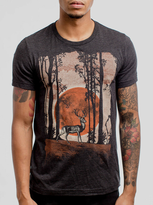 Buck Moon - Multicolor on Heather Black Triblend Mens T Shirt