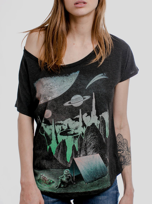 Space Camp - Multicolor on Heather Black Triblend Womens Dolman T Shirt