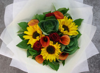 Bright Vibrant bouquet of Sunflowers, Roses and Calla lilies