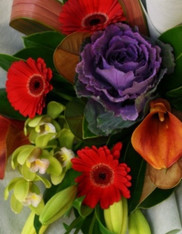 A bright modern high contract bouquet, includes Kale, Geberas, callas, lilies and a polymin orchid