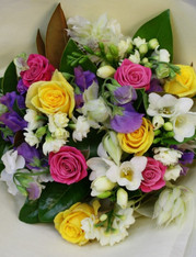 Scented dainity Flowers in Pastel pinks, purples, whites and creams.