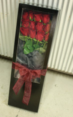 Boxed Dozen Roses - Red or Coloured
