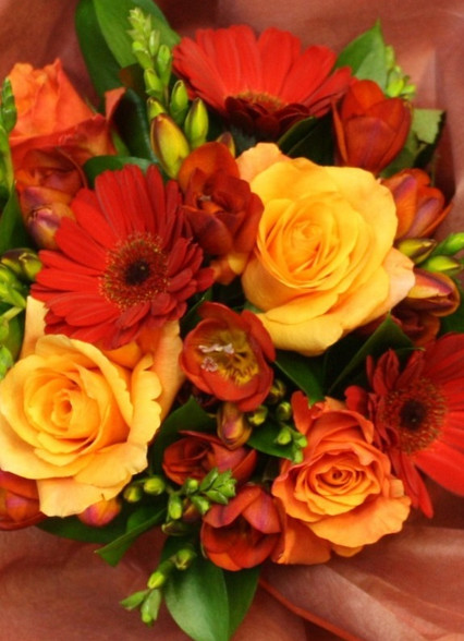 "A red and orange bouquet based on our best seller ""lambton"" include freesias, roses and gerberas"