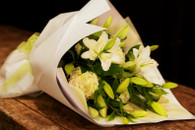 Fresh and elegant white and green seasonal blooms