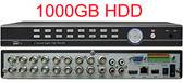 16 Channel H.264 960H HDMI 1080P Real Time 480FPS Recording Network Remote Viewing DVR Securiity System Built-in 1000GB HDD