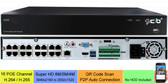 CIB 32CH 16xPOE Plus 16xNON-POE NVR 8MP/5MP/4MP (3840x2160 to 2592x1520) Magepixel Super HD H.265 POE Network Video Recorder System