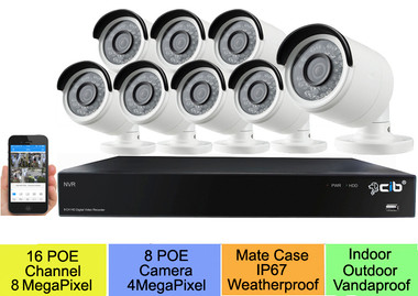 16CH 8MP POE H.265 NVR with 8x4M POE H.265 IP Camera, 4T HDD, Capability up 16TB, HDMI up to 4K output. Full compatibility with Samsung HD NVR and IPC.