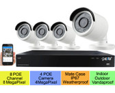 16CH NVR 8xPOE plus 8xNON-POE 8MP/5MP/4MP H.265,HDMI 4K Output, 4x4MP H.265 POE Weatherproof VandalProof Bullet IP Cameras w/ 4TB HDD