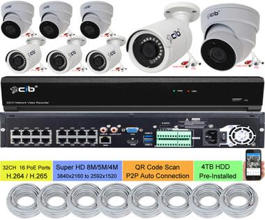 32CH NVR  16 PoE Ports, 4TB HDD 4xDome 4xBullet