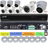 16CH NVR 8 PoE Ports 8 NON-PoE , 4TB HDD , 4xBullet 4xDome