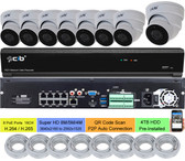 16CH NVR 8xPOE plus 8xNON-POE 8MP/5MP/4MP H.265,HDMI 4K Output, 8x5MP H.265 POE Weatherproof VandalProof Dome IP Cameras 4TB HDD