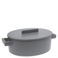 Sambonet Terra Cotto Oval saucepot, 2 handles with lid, Pepper