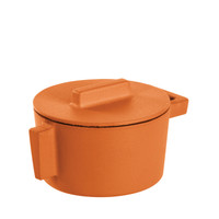 Sambonet Terra Cotto Cast Iron Saucepot with Lid, Curry, 4 inch, 10 ounce