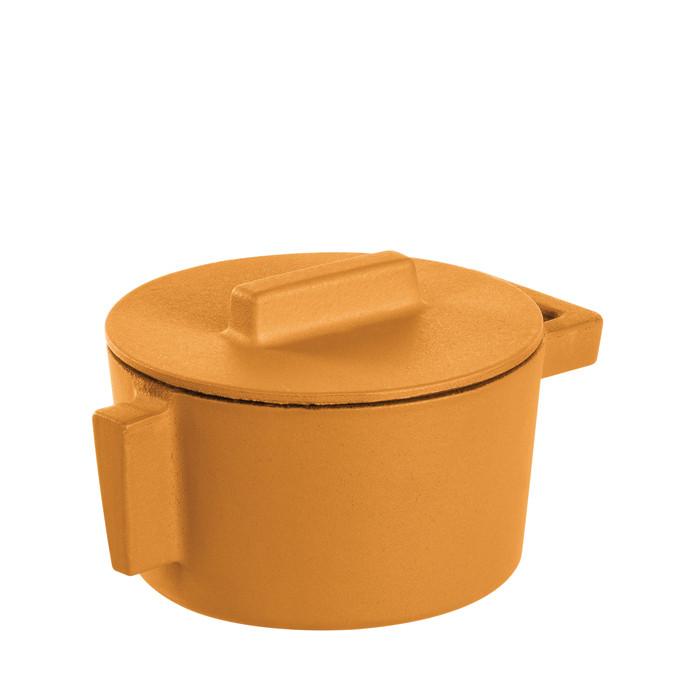 Sambonet Terra Cotto Cast Iron Saucepot with Lid, Vanilla, 4 inch, 10 ounce