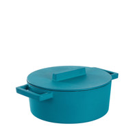 Sambonet Terra Cotto Cast Iron Casserole Pot with Lid, Anise, 9 1/2 inch, 42 ounce