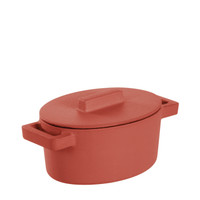 Sambonet Terra Cotto Cast Iron Oval Casserole with Lid, Paprika, 5 x 4 inch
