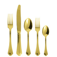 Sambonet Filet Toiras Gold 5 pcs Place Setting, solid handle
