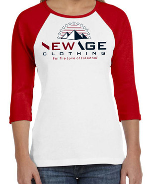 New Age Clothing - TriPy Love of Freedom Red-White Red-Navy-White Ladies Raglan