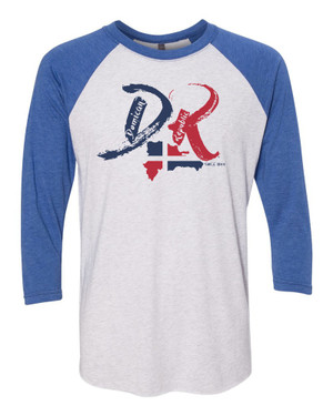 "Hispaniola Port & Trade Company | DR ""Since 1844"" Vintage Royal-Light Heather Raglan Tee"