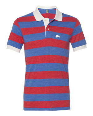 Hispaniola Port & Trade Company | DR Map Vintage Royal-Red Premium Fitted Stripe Polo