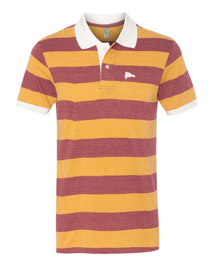 Hispaniola Port & Trade Company | DR Map Vintage Burgundy-Gold Premium Fitted Stripe Polo