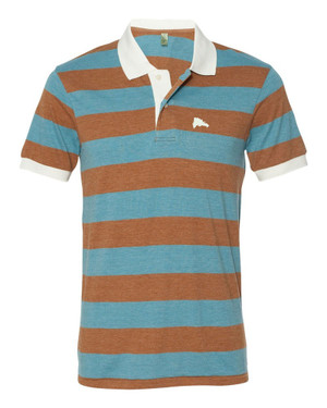 Hispaniola Port & Trade Company | DR Map Vintage Turquoise-Rust Premium Fitted Stripe Polo