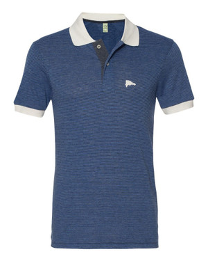 Hispaniola Port & Trade Company | DR Map Vintage Navy-Royal Premium Fitted Feeder Stripe Polo