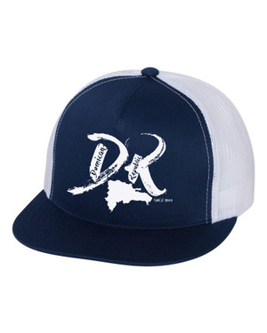 "Hispaniola Port & Trade Company | DR ""Since 1844"" White-Navy Trucker Flat Brim Snapback"