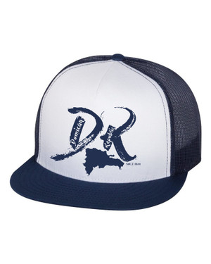 "Hispaniola Port & Trade Company | DR ""Since 1844"" Navy-White Trucker Flat Brim Snapback"