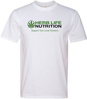 "GreeTees | ""Herb Life"" White Premium Fit Crew"