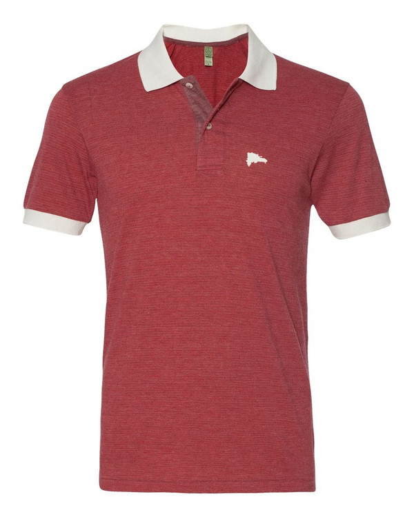 Hispaniola Port & Trade Company | DR Map Vintage Burgundy-Red Premium Fitted Feeder Stripe Polo