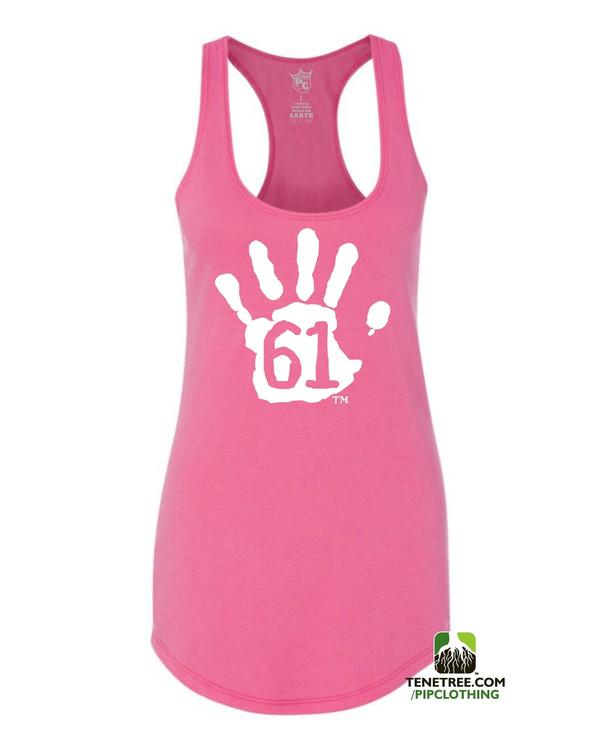 PC RUH Hand61 Ladies Pink Scalloped Racerback Tank