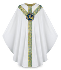 Gothic Chasuble with Handembroidered Marian Emblem