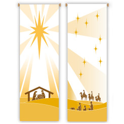Inside Christmas Banner with Nativity or Three Wisemen and Shepherds Design