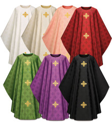 Gothic Chasuble in Adornes fabric with Embroidered Crosses