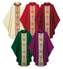 Gothic Chasuble in Dupion fabric with Regina orphrey with roll colar