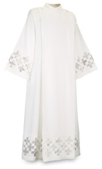 Washable coat style Alb in white Terlenka with embroidered Crosses