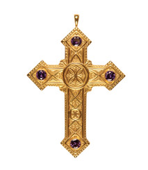 """Pectoral Cross with Amethysts 4-3/8"""""""