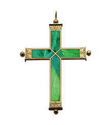 Pectoral Cross with Malachite Inlay 4""
