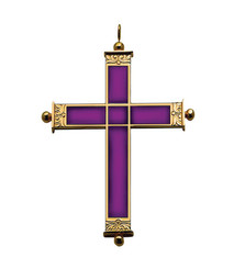 """Pectoral Cross with Amethyst Inlay 4"""""""