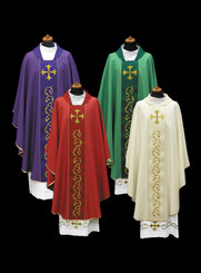 Gothic Chasuble with Cross Embroidery on Orphrey