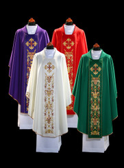 Gothic Chasuble with Satin Embroidered Orphrey