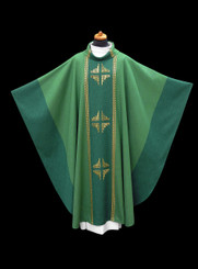 Hand-woven Green Chasuble with Chalice Veil