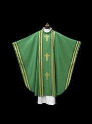 Hand-woven Green Chasuble with Cross Motiff and Chalice Veil