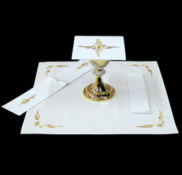 Complete Mass Linen Set with Gold Embroidery