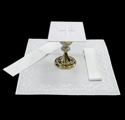Complete Mass Linen Set with White Cross Embroidery