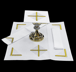 Complete Mass Linen Set with Gold and White Cross Embroidery