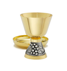 Chalice and Matching Ciborium with Grape Vine Design
