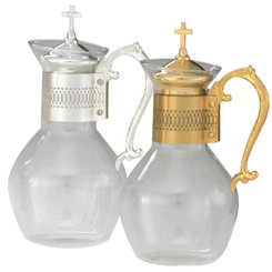 "Glass and Metal Flagon, 48oz. 11""H"