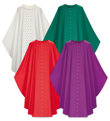 Gothic Chasuble in Dupion fabric with Embroidered Crosses